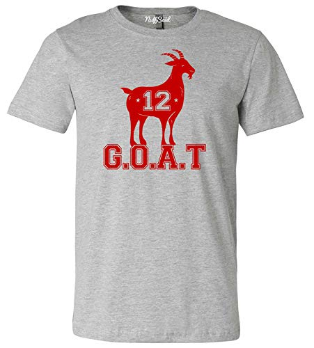 NuffSaid Adult Greatest of All Time New England Goat Tee - Unisex T-Shirt (XLarge, Sport Grey - Red Ink)