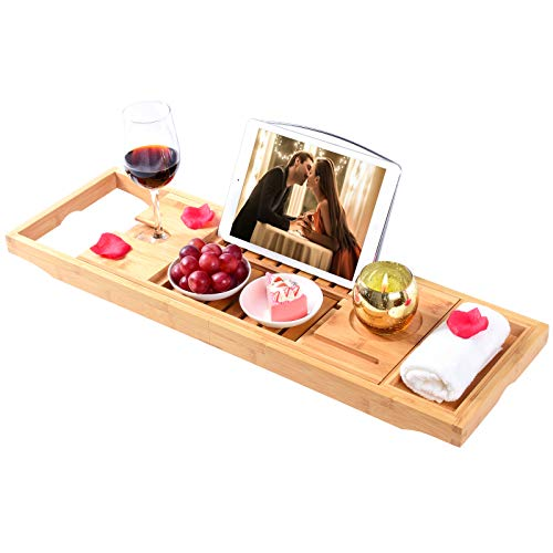 minqi Bamboo Bathtub Tray Expandable Bathtub Caddy with Reading Rack or Tablet Holder, Bath Table Trays Includes a Wine Glass Holder and a Bonus Soap Holder