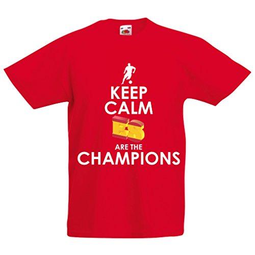 lepni.me Camiseta Niños/Niñas Españoles Son los campeones, Campeonato de Rusia 2018, Copa del Mundo - Equipo del fútbol de Camisa del admirador de España (3-4 Years Rojo Multicolor)
