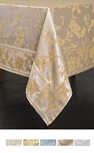 Benson Mills Harmony Scroll Tablecloth (Silver - Gold, 60' X 144' Rectangular)