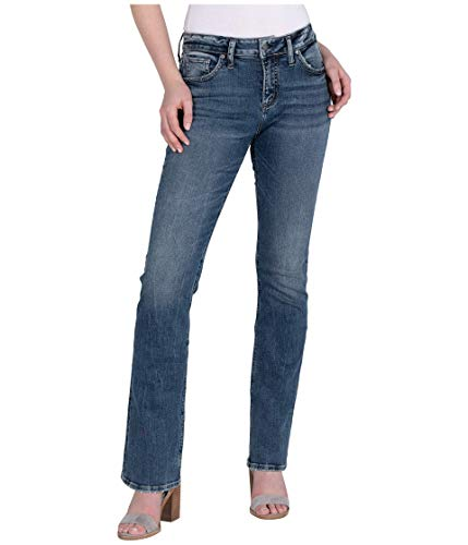 Silver Jeans Co. Women's Avery Curvy Fit High Rise Slim Bootcut Jeans, Indigo with Border Stitch Back Pocket, 24W x 33L