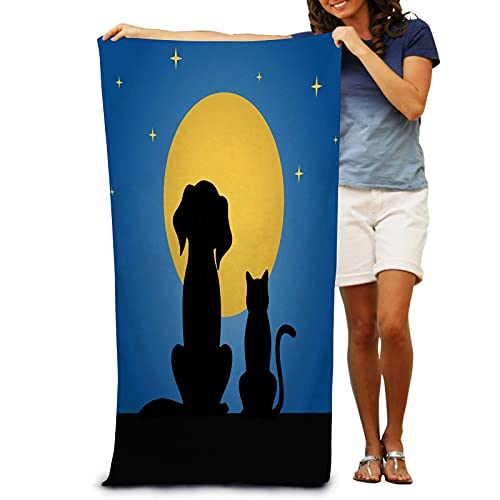 IUBBKI Silhouette Dog Cat Against Background Moon Night Bath Towel for Adult Absorbent Soft Quick Dry Ultra Shaggy Beach Pool Towel 31 x 51