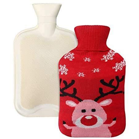 Termo, kylande varmvattenflaska med stor kapacitet, tillverkad av rent naturligt gummi och bekvämt fluffigt plyschtyg stickad hjort spjälsängsskydd, används för rygg, hals, midja, ben, säng för att hålla värmen