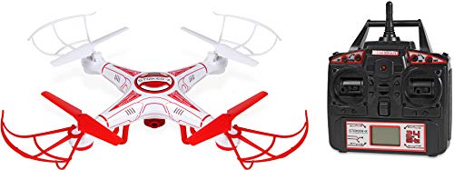 World Tech Toys Striker-X HD Camera Drone 2.4Ghz 4.5Ch HD Picture/Video Camera RC Quadcopter Vehicle, Red/White, 12 x 12 x 2.75