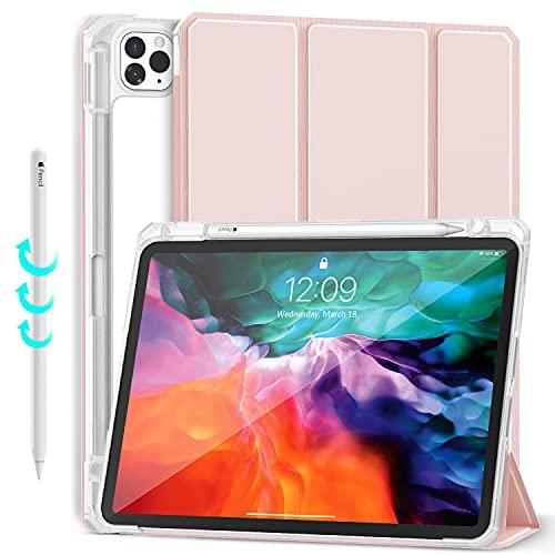 Gahwa Hülle Kompatibel mit iPad Pro 11 (2021/2020/2018) mit Stifthalter, Trifold Hülle Magnet Schutzhülle Unterstützt 2. Gen iPencil Aufladen, Auto Schlafen/Wachen - Rosa