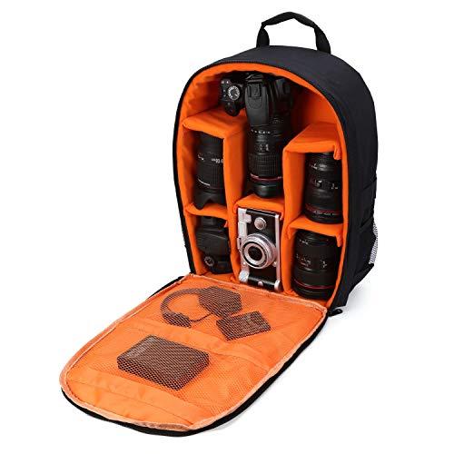 Kameratasche/Kamerarucksack, wasserdicht, 40,6 x 33 x 12,7 cm, mit Regenschutz für DSLR-Kameras, Objektiv, Stativ & Zubehör, Orange, groß