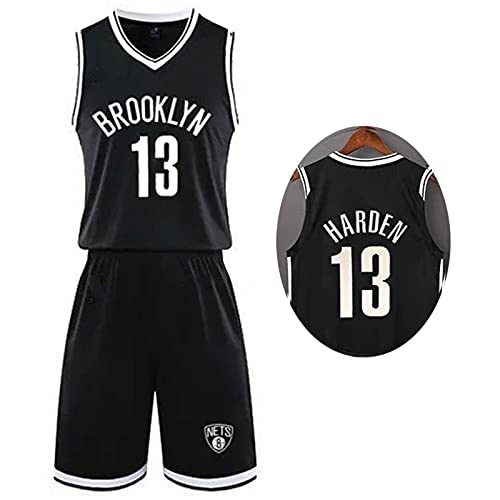 BXWA-Sports NBA Basketball Jersey Men Set Uniforme de Entrenamiento, Kids Adult Nets # 13 James Harden Competition Kits Top y Shorts Malla Tejido Transpirable Ropa Deportiva,3XS(Child)