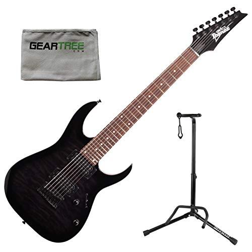 Ibanez GRG7221QATKS GIO RG 7-String Electric Guitar - Transparent Black Sunburst