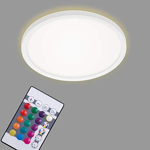 Briloner Leuchten - LED Panel, Deckenleuchte dimmbar, Deckenlampe, RGB, Farbsteuerung, Backlight, inkl. Fernbedienung, 15 Watt, 1.850 Lumen, 4.000 Kelvin, Weiß, Ø 29,3cm