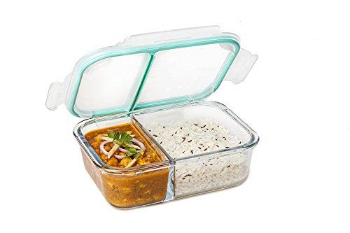 Signoraware Slim High Borosilicate Bakeware Safe Glass Small Lunch Box, 600 ML, Clear