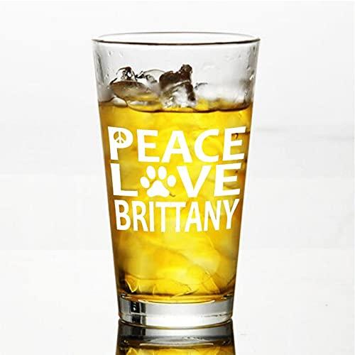 Brittany Spaniel Peace Love - Copa de vino sin tallo, vaso de whisky grabado, perfecto para padre, mamá, niño o amiga