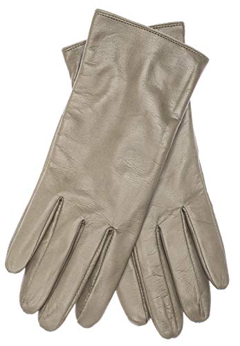 EEM Damen Leder Handschuhe MARIA aus Lammnappaleder, lang; kaki, S