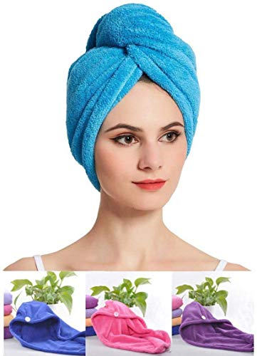 Surat Dream Hair Drying Absorbent Microfiber Towel/Dry Shower Caps/Bathrobe Hat/Magic Hair Wrap for Women (Multi Color)