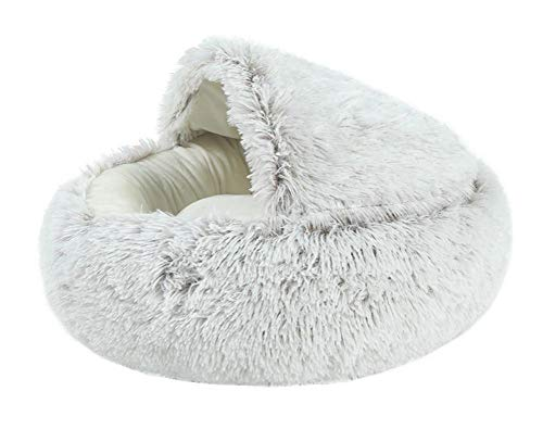Dracol Cama para perros o gatos y mascotas, para perros pequeños y medianos y de peluche en forma de Doughnut, sofá para perros con parte inferior resistente al agua, 50 cm, color gris