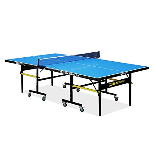 T&R sports Foldable Outdoor Ping Pong Table Full Size Quick Assembly Playback Mode/All Weather Resistant Professional Accessory Paddles Net Set Balls