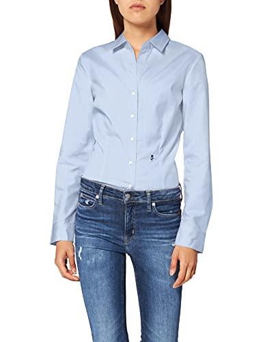 Seidensticker Damska bluzka z długim rękawem, krój slim fit, wzorzyste, bez konieczności prasowania, jasnoniebieski karo, 42