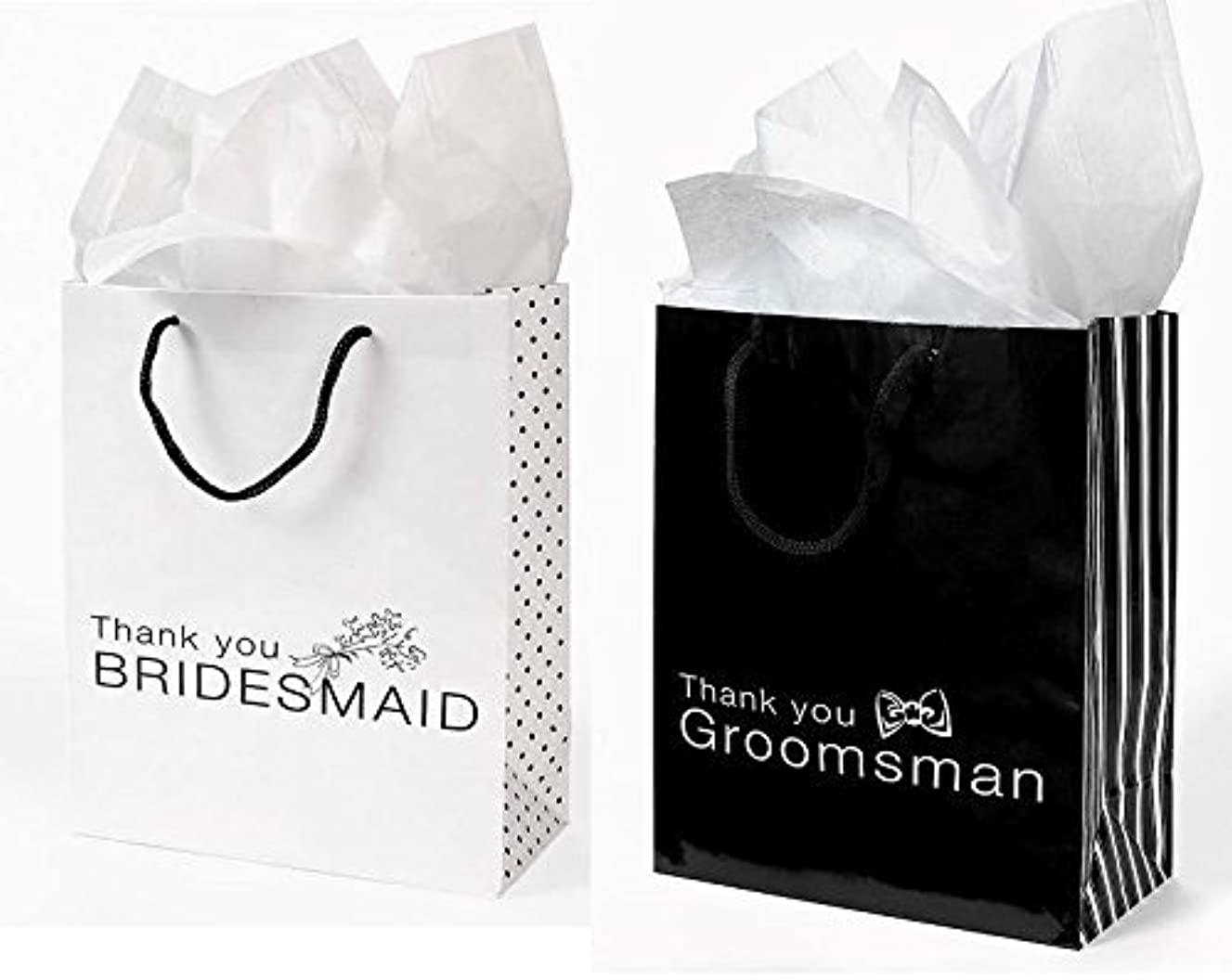 12 Pc Wedding party Gift Bag Assortment - Includes 6 Bridesmaid 6 Groomsman (MIXED)