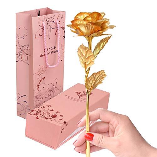 VANRA Rose Fiori Artificiali , set regalo rosa, adatto per l'anniversario di San Valentino e i regali per la festa della mamma-Oro