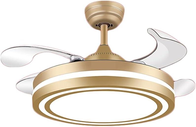 Luz LED Ventilador de Techo con Luz Moderno con Control Remoto LED DC de 3 Colores Motor DC 4 Cuchillas Control Remoto Inteligente Ventilador de Ventilador Velocidad de Viento Ajustable Iluminación de