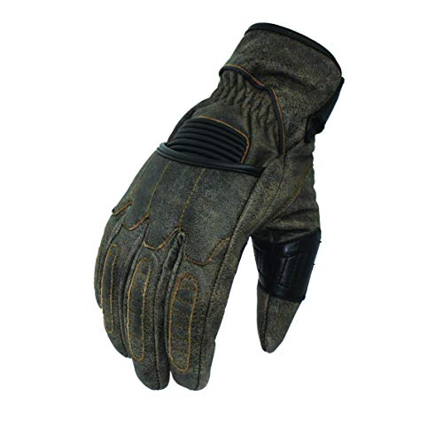First Mfg Co Men's Donner Leather Motorcycle Gloves (Black, X-Large)