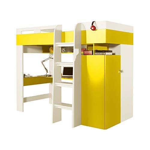 Furniture24 Multifunktionsbett Etagenbett Hochbett Bett MOBI MO20 mit Federkernmatratze, Schreibtisch und Schrank (Weiß/Gelb)