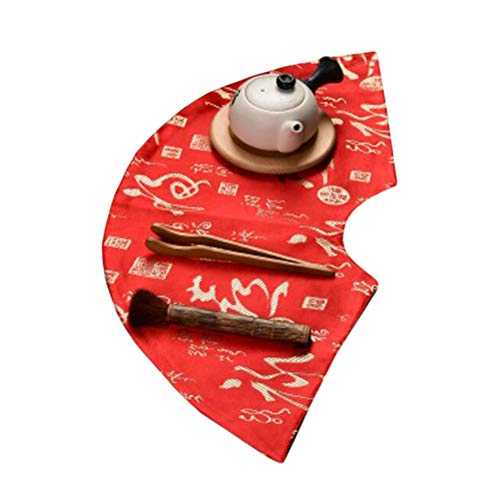 Wukong Paradise Nappe à thé Tapis à thé Broderie sous-Verres à thé Chemin de Table Accessoires de thé-A09