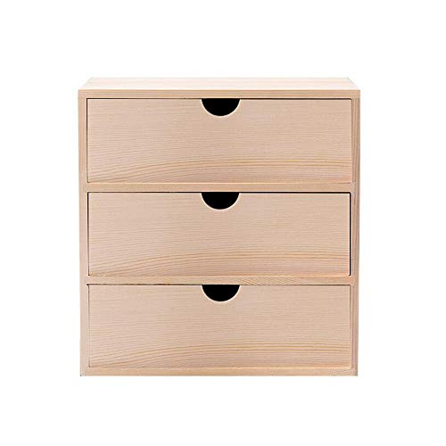 JCNFA-BOEKENPLANK Desktop Opbergdoos, Met Lade, Bureaudozen 3 Verdiepingen, Kaptafel Cosmetische Opbergbox Rek (Color : Wood, Size : 9.05 * 6.29 * 9.44in)