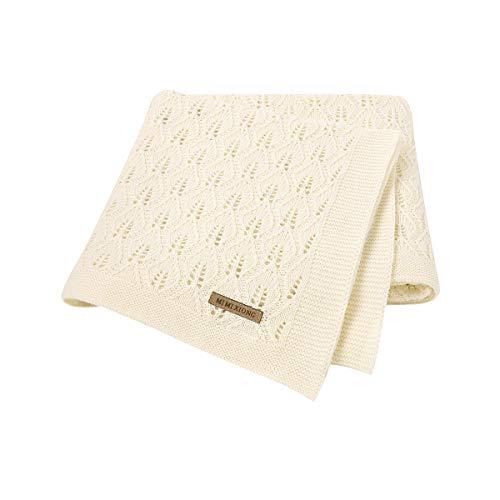 mimixiong Manta para bebé 100% algodón de punto celular para niños y niñas (marfil)