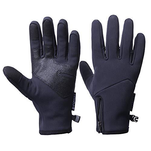 Onetraum Brudergo wasserdichter Touchscreen Handschuhe Winter Fahrradhandschuhe Laufhandschuhe Sporthandschuh mit Touchscreen Funktion(Warm-Schwarz, M(Palm Breite Ca. 8.5cm))
