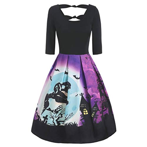 VJGOAL Halloween kostuum dames jurken elegante grote maten korte avondjurk retro V-hals korte mouwen party A-lijnen jurk