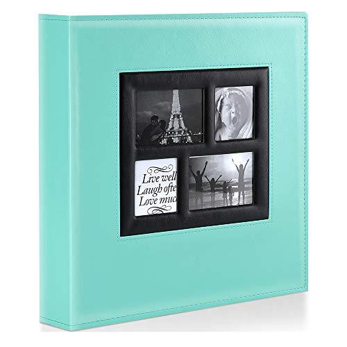Benjia - Álbum de fotos de 500 fundas, tamaño extragrande, cubierta de piel, para bodas, fotos familiares, para 500 fotos de 10 x 15 cm, verde azulado, 500 Pockets