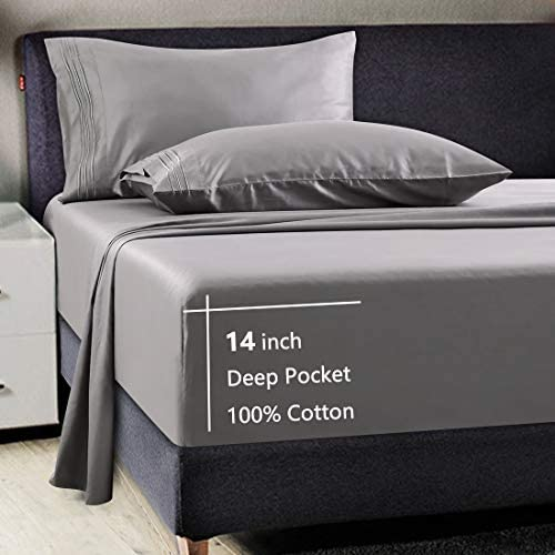 100% Cotton 600 Thread Count Luxury 4 Piece Bed Sheet Set All Season Egyptian Long-Staple Combed Cotton Sheets -Silky Soft, Breathable, Cooling, Deep Pocket, Hotel Quality Bedding (Grey, Queen)