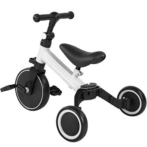 Ejoyous 3 in 1 Kinder Dreirad Laufräder Laufrad, Kinder Balancing Bicycle Kinderdreirad Lauflernrad faltbar Kinderlaufrad für Baby und Kinder 1-3 Jahre Alt Tragfähigkeit 25kg(White)