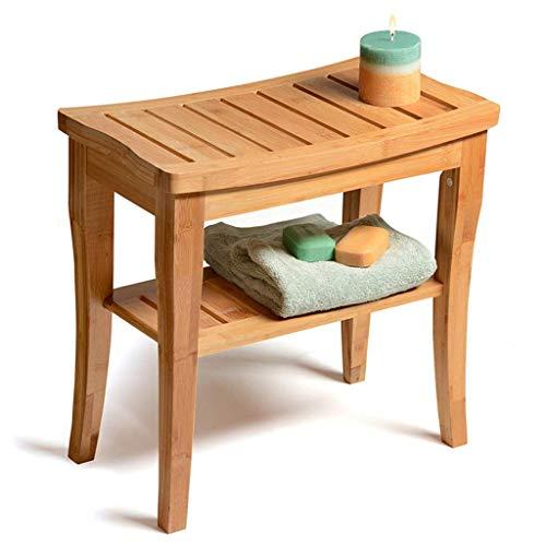 Z-SEAT Duschhocker aus natürlichem Bambus 2-stufiges Holzregal Wasserdichtes Bad Eckbank Duschsitz für drinnen oder draußen