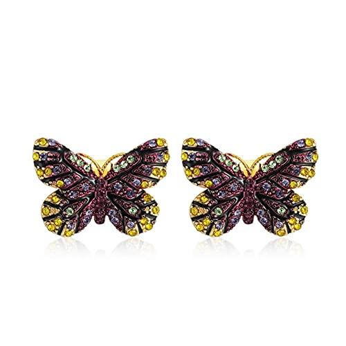 SALAN Pendientes Coloridos De Moda con Forma De Mariposa De Cristal Cz para Mujer, Fiesta, Pendiente Animal Nuevo
