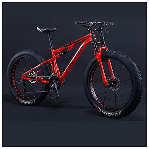 NENGGE 26 Pulgadas Bicicleta Montaña para Adulto Hombre Mujer, Profesional Freno Disco Bicicleta BTT con Doble Suspensión, Marco Acero de Alto Carbono MTB,27 Speed,Red Spoke