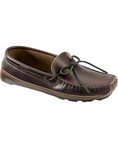 Minnetonka Men's Double Bottom Cowhide Moc, Dark Brown Lariat, 11 M US