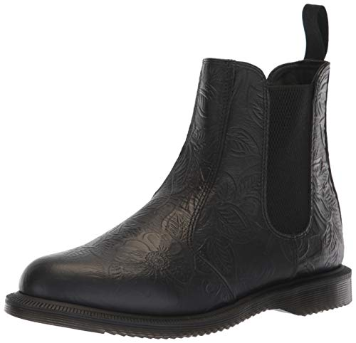 Dr. Martens Women's Flora Floral Emboss Leather Pull On Chelsea Boot Black-Black-5 Size 5