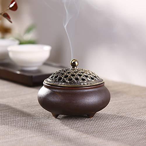 Keramik Weihrauchbrenner Räuchergefäß Räucherstäbchenhalter Halter Rund Chinesisch Porzellan Räucherschale mit Feuerfeste Matte und Metall Deckel für Home Deko Geschenk