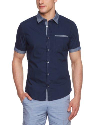 Esprit - Camisa de Manga Corta para Hombre, Color Blue - Bla