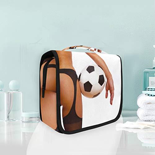 Bolsa de cosméticos de maquillaje Chica sexy con balón de fútbol Fútbol Almacenamiento portátil Bolsa de aseo
