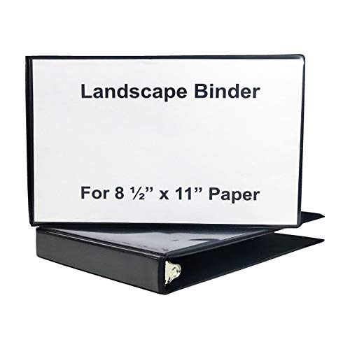 Landscape Binder Horizontally Formatted One Inch Ring Size,13 1/2-Inch Wide to Hold Standard Paper, Index Tabs and Sheet Protectors, Black Vinyl.