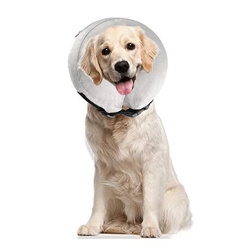 PET SPPTIES aufblasbar Halsband für Haustier Hund Katze bequem weich Recovery Schwimmen Schutz-mit Magic Reißverschluss für Haustier Hund Nackenschutz Kissen PS005 (S/Grey)