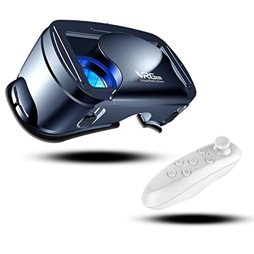 CoverTpu VR Brille Virtual Reality Brille kompatibel mit 5-7 '' iPhone & Android 3D VR Brille mit Bluetooth Controller, HD Virtual Reality Anti Blu-ray-Linse - für 3D Film und Spiele