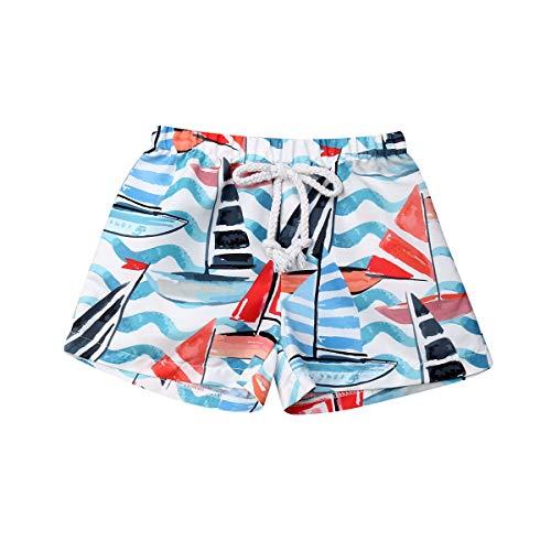 Bermuda de Baño Bañador de Natación Verano para Niños Pantalones Cortos con Estampado Hawaiano para Chicos Traje de Baño con Banda Elástica Ajustable Ropa de Playa (Rojo, 1-2 Años)