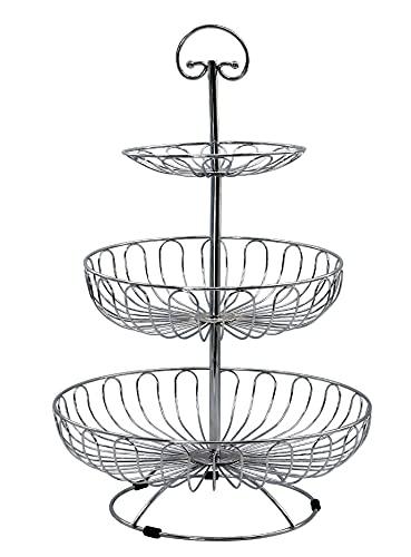 Auroni Obst Etagere 3 stöckig Obstkorb Metall Draht - Silber - Obstschale mehr Platz auf der Arbeitsplatte Küche - 47 cm hoch, max. Durchm. 30 cm