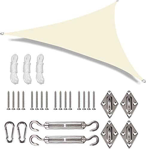 YGXS Vela Triangular para Sombrilla con Kit De Fijación, Resistente Al Agua 98% De Bloqueo UV Velas De Sombra Toldos para Sombrilla para Patio Jardín Al Aire Libre con Cuerda Libre,Beige,4X4X4M