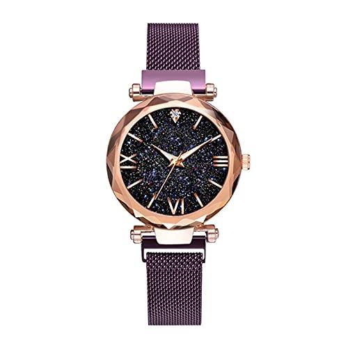 GKXAZ Reloj de Pulsera de Las señoras Starry Sky Dial Ladies Casual Cuarzo Reloj Correa de Malla Impermeable (Color : Purple)
