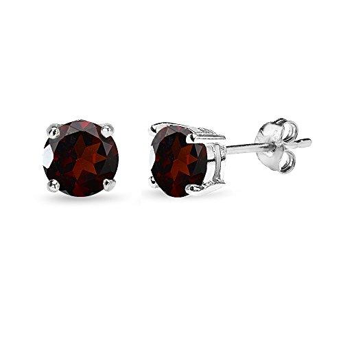 Sterling Silver Garnet 6mm Round-Cut Solitaire Stud Earrings