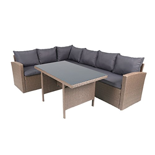greemotion Rattan-Lounge Hamburg - Gartenmöbel-Set 3-teilig aus Polyrattan in Braun mit Auflagen in Grau - Design-Loungeset mit 2 x Rattansofa & Glastisch für Outdoor & Indoor